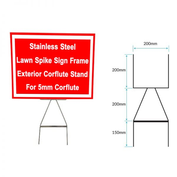 Stainless Steel Lawn Spike Sign Frame for 5mm Corflute